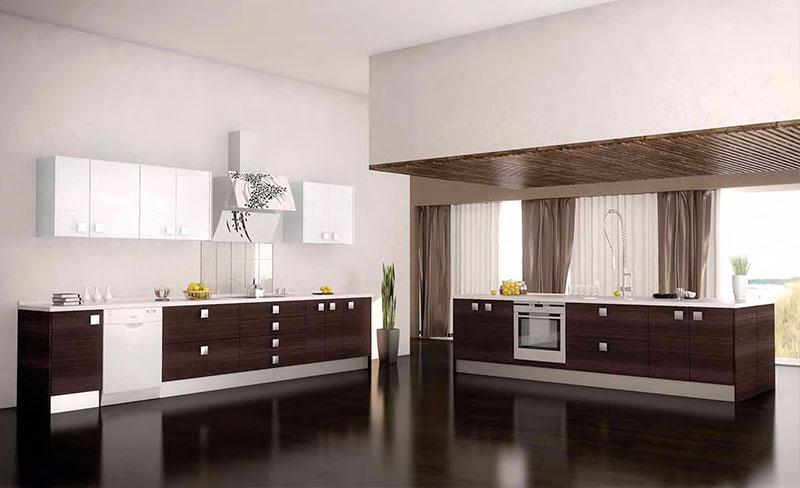Cocinas de madera modernas mm for Cocinas alargadas modernas